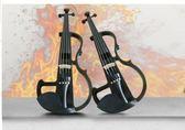 全手工高檔小提琴 4/4演奏提琴 黑色電子小提琴 電聲小提琴 超值 全實拍 【藍星居家】