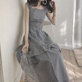 夏裝新款女百搭寬鬆顯瘦格子洋裝氣質無袖學生中長款裙子潮艾美時尚衣櫥