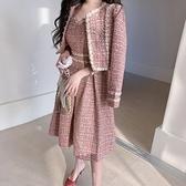歐媛韓版 粗花呢女神範小香風套裝 冬季新款名媛洋氣短款外套 收腰吊帶兩件套裙洋裝