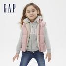 Gap女童 簡約風仿羊羔絨開襟羽絨背心 593896-粉色