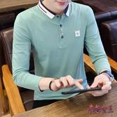 男士新款長袖T恤潮流韓版帶領polo衫秋季襯衫領棉質青年打底上衣 XN8696【花貓女王】