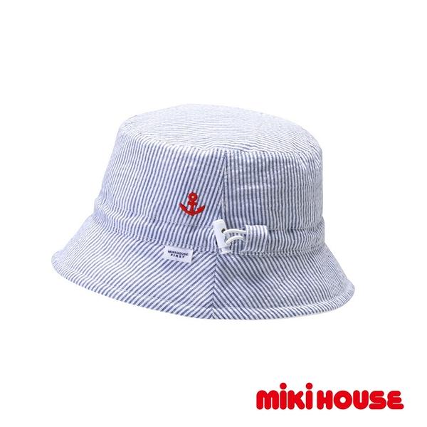 MIKI HOUSE 抗UV條紋雙面遮陽帽(藍)