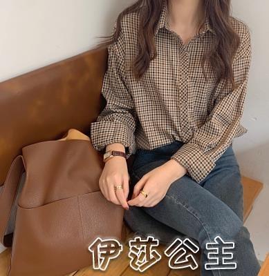 格子衫 whisper | 復古格子襯衫女秋季新款韓版棕色寬鬆長袖打底襯衣-17