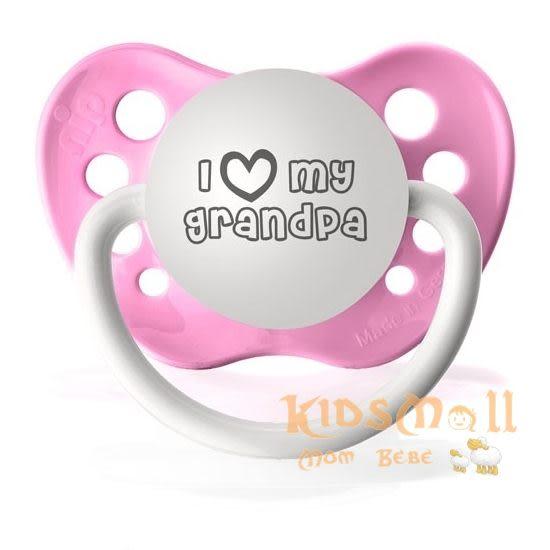 美國 Ulubulu ,個性化造型安撫奶嘴,德國製I Love My Grandpa-Pink