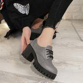 英倫女鞋學院風粗跟單鞋圓頭高跟布洛克鞋繫帶牛津學生小皮鞋~優購 ~