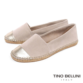 Tino Bellini 西班牙進口真皮拼接麻編休閒鞋_ 淺駝 B83211 歐洲進口款