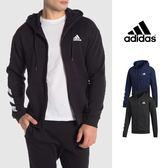 【GT】Adidas 黑藍 連帽外套 運動 休閒 素色 棉質 刷毛 帽夾 愛迪達 基本款 Logo