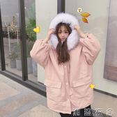 新款冬季韓版中長款寬鬆毛領連帽棉衣學生夾棉加厚棉服外套女  潮流衣舍