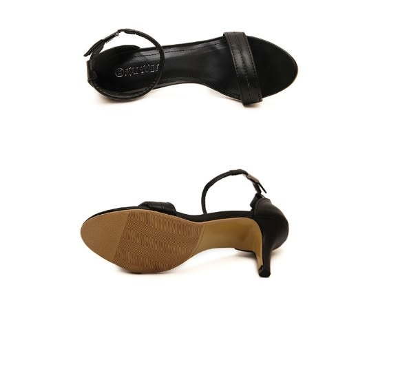 爆款百搭細跟中跟女鞋涼鞋