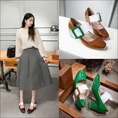 {丁果時尚}大尺碼女鞋34~43►19年新款歐美方頭水晶跟穆勒鞋半拖鞋子*3色