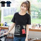 T恤--活潑俏皮休閒可愛貓咪咖啡杯印圖點點貓站牌貼布T恤(黑.藍XL-5L)-T198眼圈熊中大尺碼★