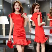歐洲站2019夏新款女裝時尚修身顯瘦紅色荷葉邊袖魚尾連 【四月上新】