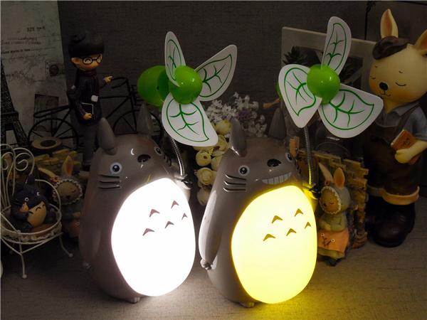 【世明國際】卡通龍貓桌面USB風扇可充電迷你小電風扇大風力靜音宿舍夜燈