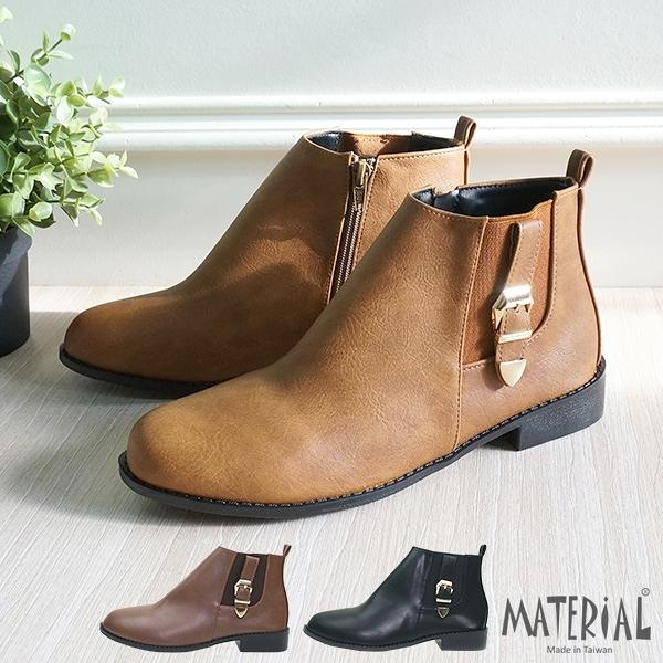 短靴 側鬆緊扣帶平底短靴 MA女鞋 T8021