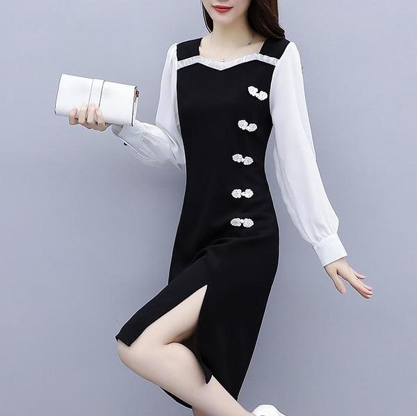 長袖洋裝 大碼女裝2020秋季新款復古改良版旗袍洋氣減齡胖mm長袖連衣裙