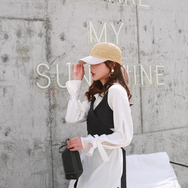 春夏手工拉菲草鉤針棒球帽出游度假新款歐美英倫個性鴨舌帽女棉布1入