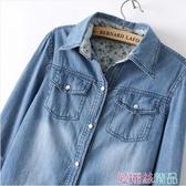 牛仔外套牛仔外套女春季長袖中長款大碼寬鬆顯瘦學生牛仔襯衣外套交換禮物