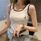 EASON SHOP(GW6779)韓版卡通飛機刺繡撞色無袖吊帶針織背心坑條紋短版露肚臍露肩上衣服彈力貼身