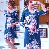 睡裙新款女士睡裙氣質夏季中袖薄款睡衣長裙棉綢短袖綿綢春夏顯瘦 宜室家居