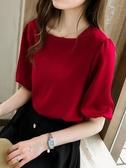 雪紡上衣女夏季新款韓版設計感小眾輕熟很仙的洋氣短袖雪紡衫