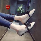 小皮鞋娃娃鞋單鞋女新款復古奶奶鞋蝴蝶結平底小皮鞋韓版百搭淺口鞋子  凱斯盾數位3C