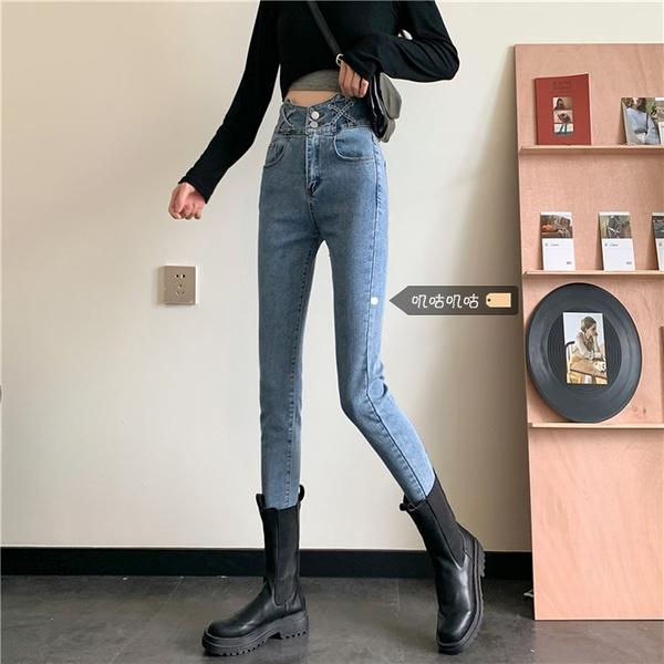 大碼女裝春裝2021年新款淺色牛仔褲女彈力高腰顯瘦胖mm緊身小腳褲1 幸福第一站