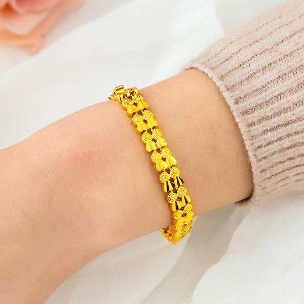 越南沙金手鏈女仿真黃金鍍24k金貔貅轉運珠手鏈久不掉色飾品首飾