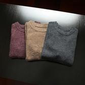 兔毛衫 外貿日單 冬季男款修身彈性暗紋拼接兔毛混紡針織衫圓領套頭毛衣