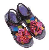 MODO黑絲絨/搖滾金屬皮面-THE ONE 氣墊鞋/涼鞋 (全牛皮)-F53009 咖啡