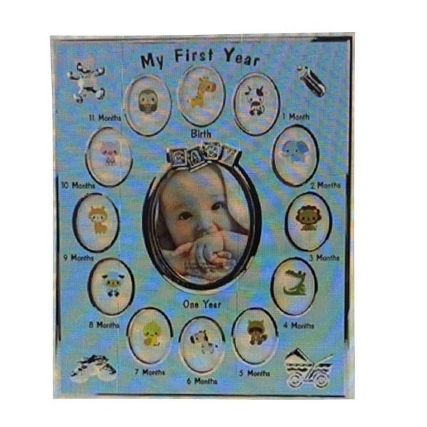 [9美國直購] lipiny 兒童紀念相框 放置出生第一年照片 Kids Birthday Gift Home Decoration Family粉色/藍色