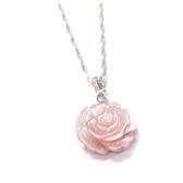 貝殼粉紅玫瑰花純銀項鍊- 花15 mm