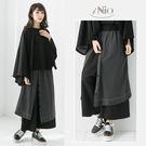文青風雙層設計兩側口袋鬆緊腰寬褲裙(S-...