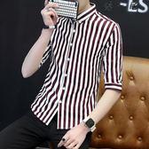 夏季短袖男士五分袖襯衫青年條紋七分袖Y-3533