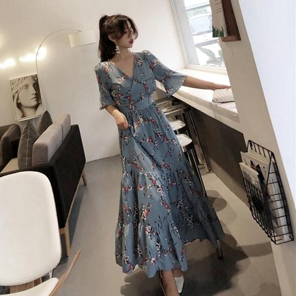 大尺碼女裝2020夏裝很仙的法國小眾V領桔梗長裙女大碼胖妹妹顯瘦雪紡連衣裙