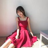 雙11限時優惠-洋裝 ig超火的吊帶連身裙女夏新款復古打底短裙子赫本初戀小紅裙