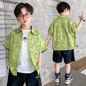 男童襯衫-兒童裝男童純棉薄款短袖襯衫夏季韓版中大童帥氣可愛開衫上衣襯衣