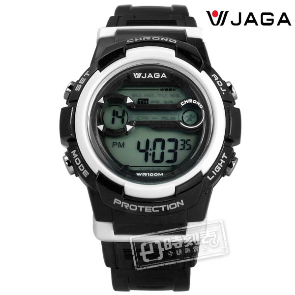 JAGA 捷卡 / M1126-AD / 搶眼青春活力電子運動橡膠手錶 黑色 39mm