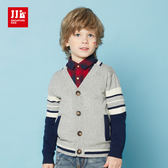 JJLKIDS 男童 氣質紳士純棉針織外套(麻灰)