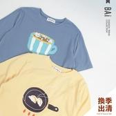 T恤 煎餃與咖啡貓印圖棉質上衣-BAi白媽媽【301236】