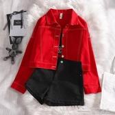 紅色牛仔外套女早春新款短款韓版學生bf時尚百搭字母印花夾克(快速出貨)