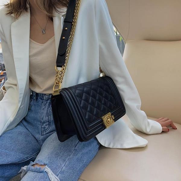 側背包上新小香風包包女新款潮小包包時尚百搭菱格錬條包側背包
