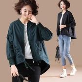 外套上衣開衫風衣中大尺碼L-5XL新款棒球領開衫薄外套前短後長長袖風衣上衣NB11-391.