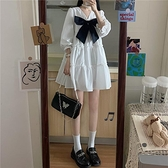 法式蝴蝶結仙女裙夏季2021新款白色可愛森系公主裙子泡泡袖洋裝 幸福第一站