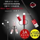 一拖3【HANG Z20】3A QC3.0 蘋果 Lightning 安卓 Micro TypeC 手機 傳輸 充電線