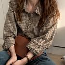復古港味格子襯衫女2021秋季新款韓版學生寬鬆百搭長袖打底襯衣服 韓國時尚週