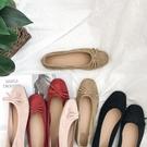 婚鞋芭蕾舞小紅鞋方頭蝴蝶結平底懶人單鞋漆...