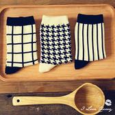 經典百搭黑白色系條紋格子襪【櫻桃飾品】【22442】
