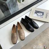 氣質百搭ins韓風低跟平底小皮鞋2018秋冬學生韓版復古方頭單鞋女 魔方數碼館