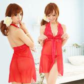 情趣內睡衣 女衣 情挑維也納!繞頸前衩性感睡衣 (紅)情人節性感睡衣 7-11貨到付款