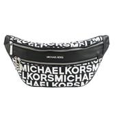 【南紡購物中心】MICHAEL KORS KENLY織布滿版MK拉鍊腰包-中/黑